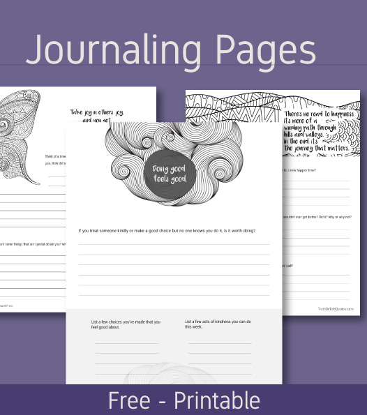 Mindfulness journaling writing prompts in printable pages