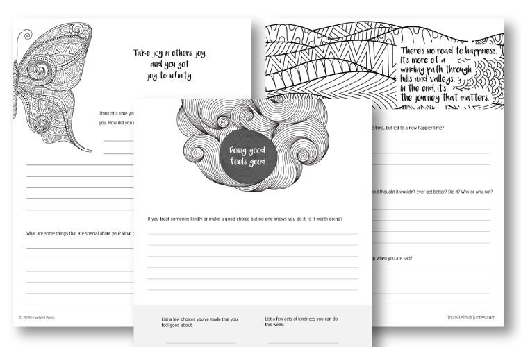 Journal writing prompt pages and worksheets for teens and young adults