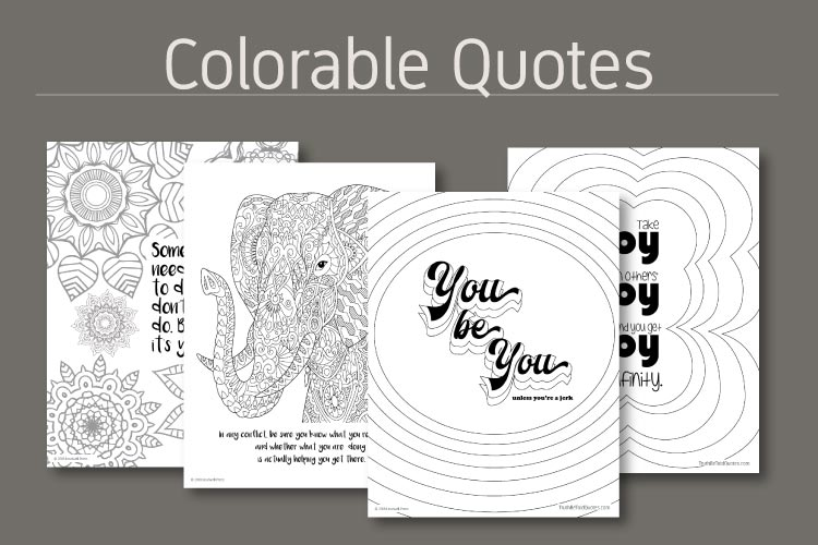 Mindfulness coloring pages with inspirational quotes