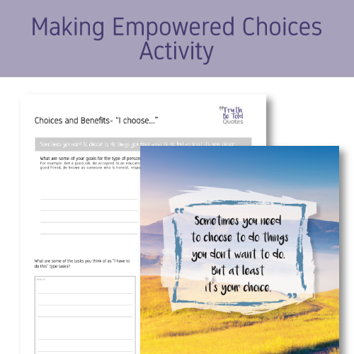 Health class activity for teens on making empowered choices