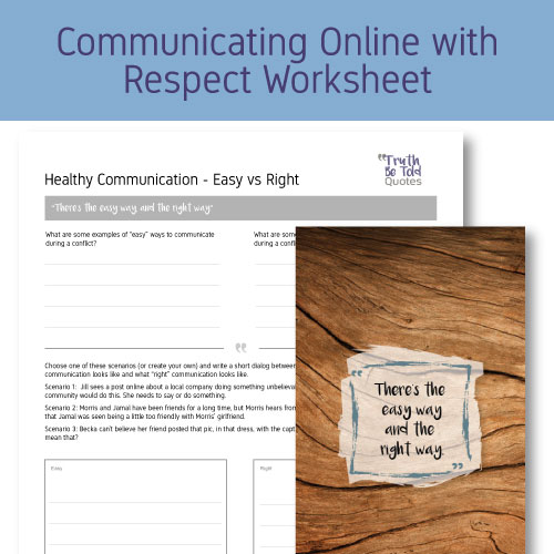 Activity with worksheet on communicating online with respect for teens SEL health class