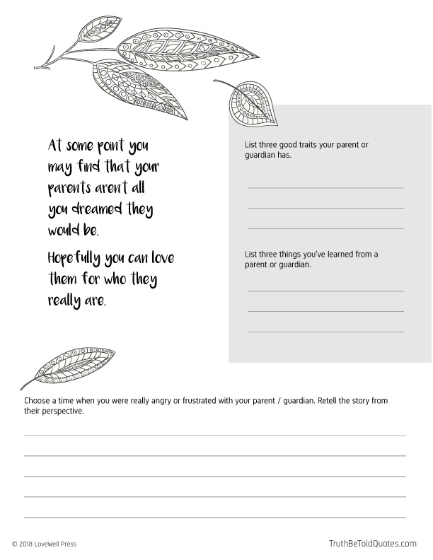 Journaling page with writing prompts for teens about accepting parents and family relationships