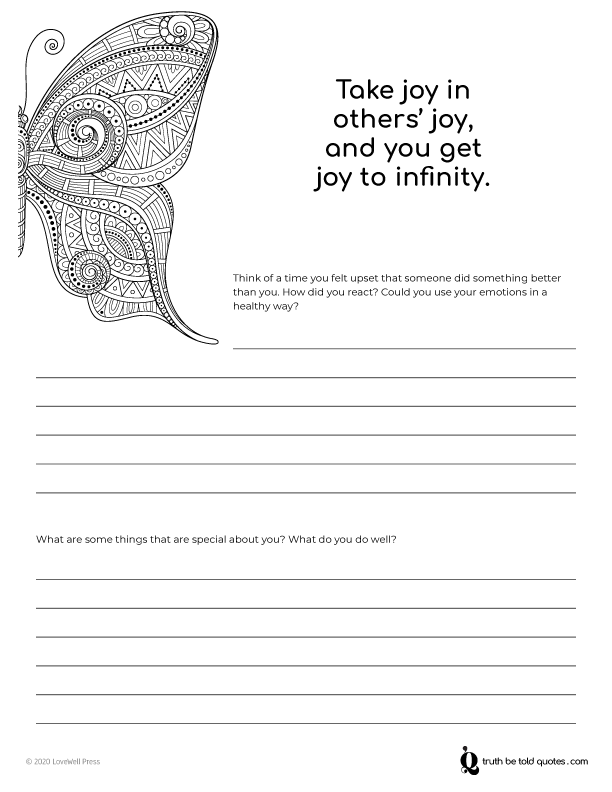 Journaling page with writing prompts on happiness