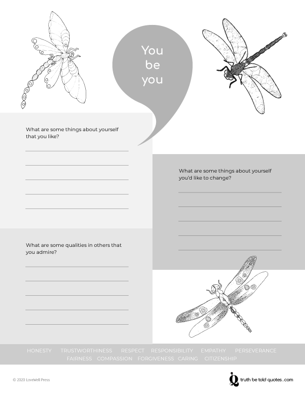 You be you journaling writing prompts and self awareness worksheet